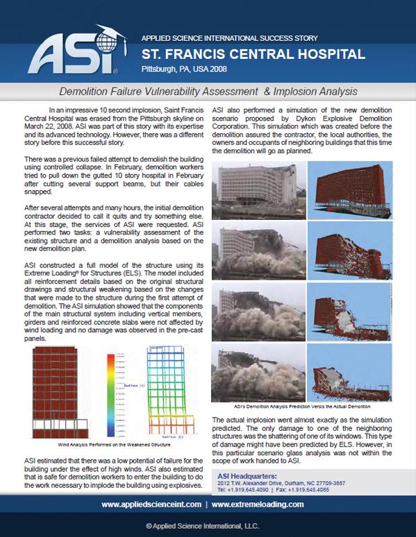 Wind/Demolition Analysis: St. Francis Hospital